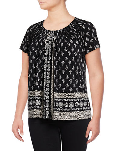 Style And Co. Plus Floral Print Pleated Top-BLACK MULTI-3X