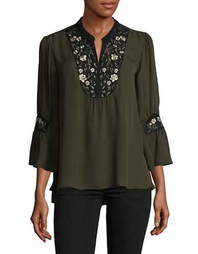 Style And Co. Embroidered Floral Tunic-GREEN-X-Large