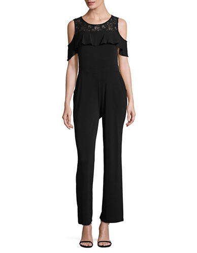 I.N.C International Concepts Cold-Shoulder Wide Leg Jumpsuit-BLACK-X-Large