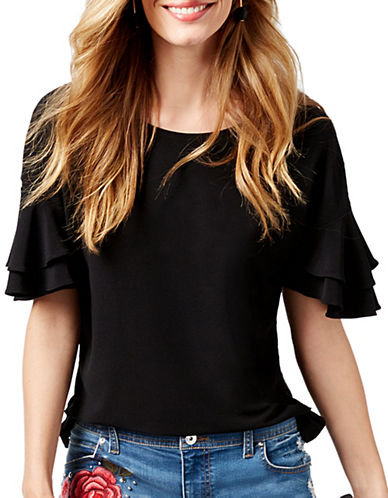 I.N.C International Concepts Tier Ruffle Sleeve Top-BLACK-Large
