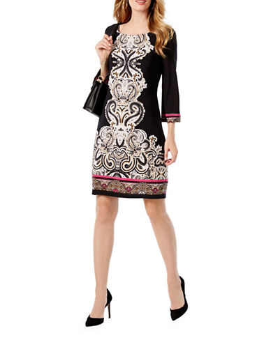 I.N.C International Concepts Contrast Sheath Dress-BLACK MULTI-Small