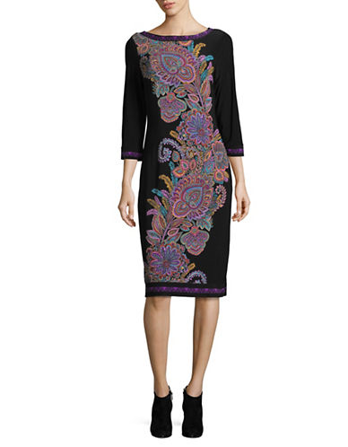 I.N.C International Concepts Paisley Sheath Dress-BLACK MULTI-Medium