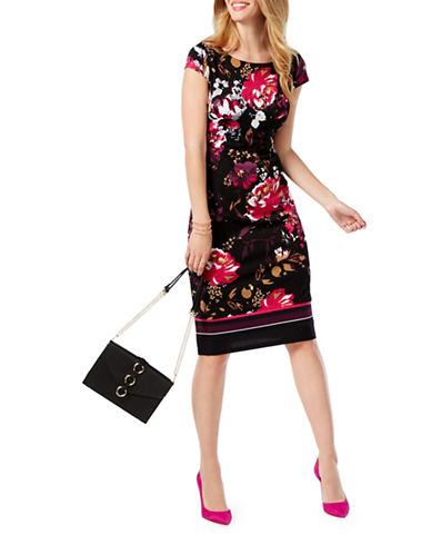 I.N.C International Concepts Petite Cap Sleeve Floral Sheath Dress-BLACK-Petite Medium