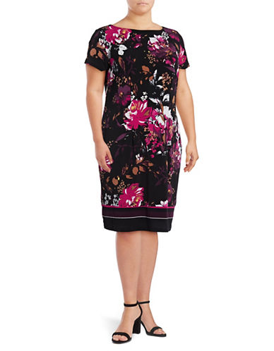 I.N.C International Concepts Plus Cap Sleeve Floral Sheath Dress-SPRING BREEZE-3X