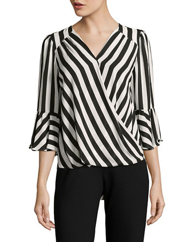 I.N.C International Concepts Stripe Front Wrap Blouse-BLACK-Medium
