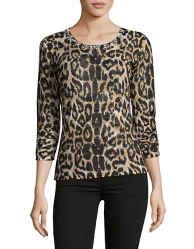 I.N.C International Concepts Jewelled Cheetah Print Top-BROWN-Medium