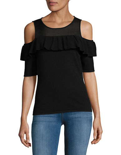 I.N.C International Concepts Mesh Cold-Shoulder Top-BLACK-X-Large