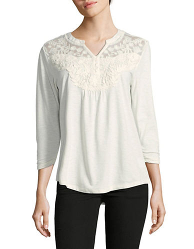 Style And Co. Split Neck Blouse-WHITE-Large
