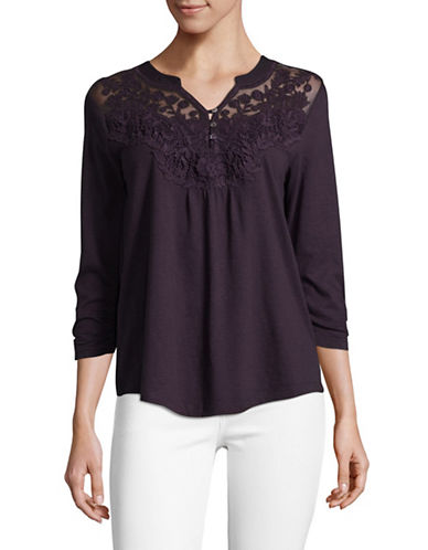 Style And Co. Split Neck Blouse-PURPLE-X-Large