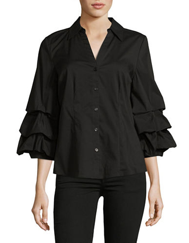 I.N.C International Concepts Ruffle Sleeve Poplin Blouse-BLACK-Small