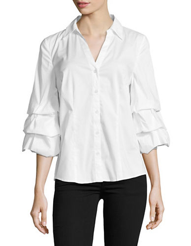 I.N.C International Concepts Ruffle Sleeve Poplin Blouse-WHITE-Large