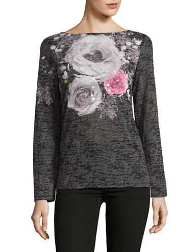 I.N.C International Concepts Long Sleeve Floral T-Shirt-BLACK-Large