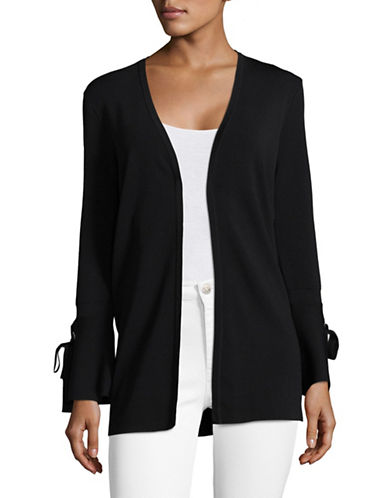 I.N.C International Concepts Cozy Bell Sleeve Cardigan-BLACK-X-Large
