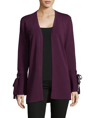 I.N.C International Concepts Cozy Bell Sleeve Cardigan-PURPLE-Large