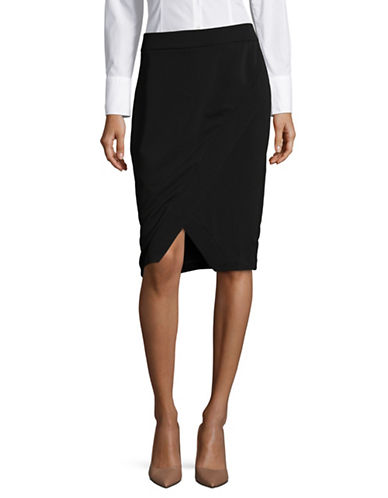 I.N.C International Concepts Asymmetrical Wrap Skirt-BLACK-2