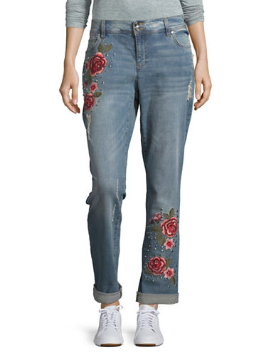I.N.C International Concepts Applique Distressed Boyfriend Jeans-BLUE-14