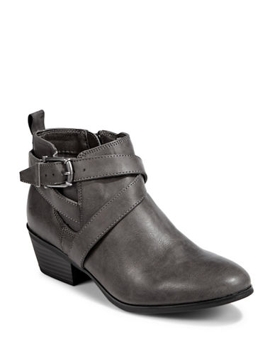 Style And Co. Strappy Buckled Booties-GREY-8