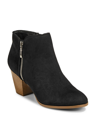 Style And Co. Jamil Raisin Zip Booties-BLACK MICRO-6.5