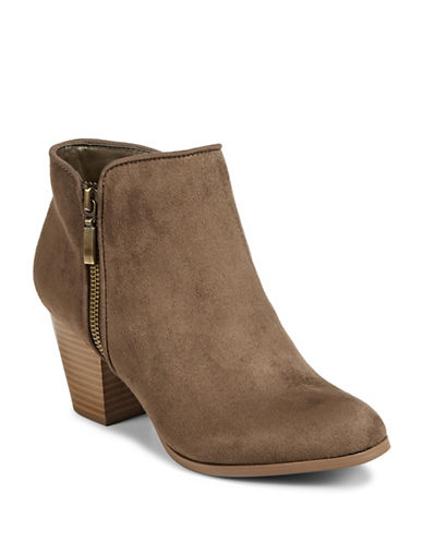 Style And Co. Jamil Raisin Zip Booties-DARK OLIVE-6.5
