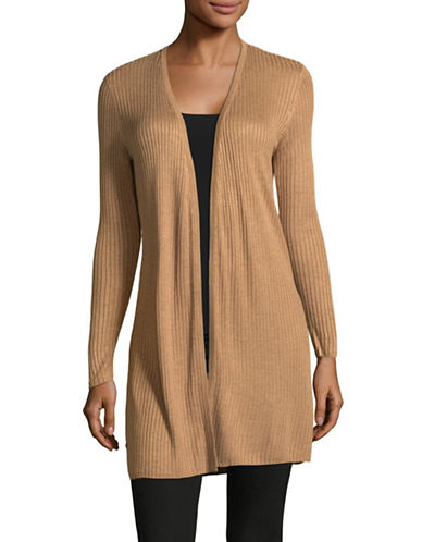 I.N.C International Concepts Petite Ribbed Duster Cardigan-BROWN-Petite Large