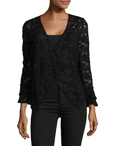 I.N.C International Concepts Petite Lace Open Front Cardigan-BLACK-Petite Medium