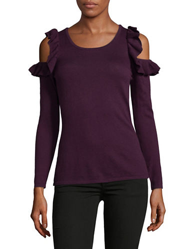 I.N.C International Concepts Petite Ruffle Cold-Shoulder Sweater-PURPLE-Petite X-Small