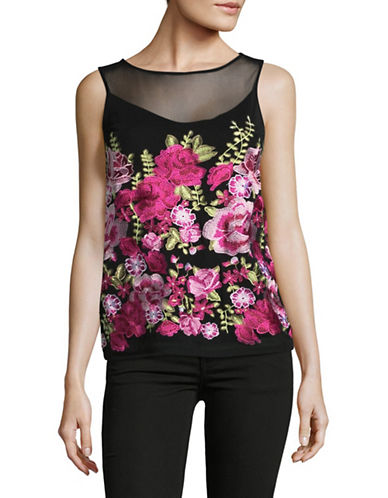 I.N.C International Concepts Petite Floral Sleeveless Blouse-BLACK-Petite Small