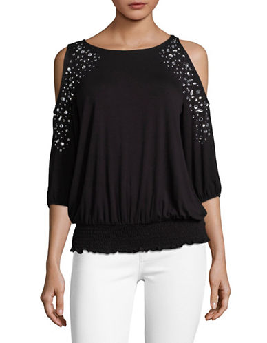 I.N.C International Concepts Petite Jewelled Cold-Shoulder Top-BLACK-Petite Small
