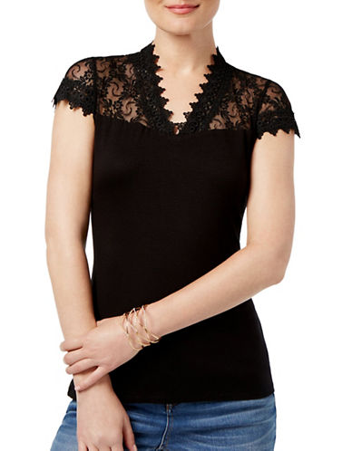I.N.C International Concepts Petite Embroidered Lace Top-BLACK-Petite Large