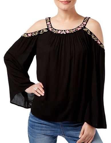 I.N.C International Concepts Petite Embroidered Cold-Shoulder Top-BLACK-Petite X-Small