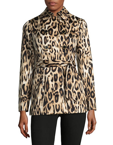 I.N.C International Concepts Petite Leopard Print Wrap Jacket-BEIGE-Petite Small