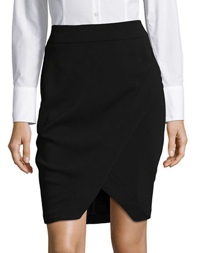 I.N.C International Concepts Petite Asymmetrical Wrap Skirt-BLACK-Petite 10