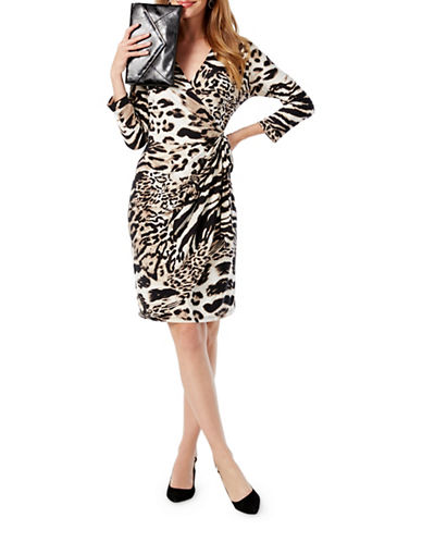 I.N.C International Concepts Petite Printed Wrap Dress-BLACK-Petite X-Small