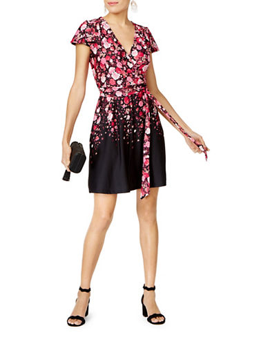I.N.C International Concepts Petite Floral Print Wrap Dress-FALLING FLORAL-Petite Large