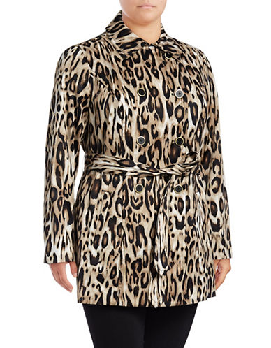 I.N.C International Concepts Plus Leopard Print Wrap Jacket-BEIGE-1X