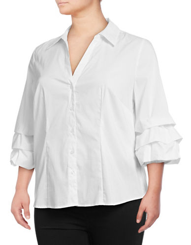 I.N.C International Concepts Plus Ruffle Button-Down Shirt-WHITE-3X