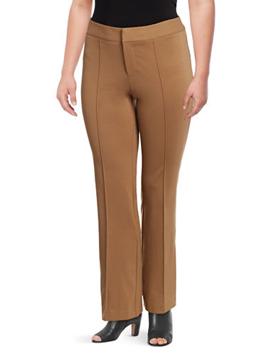 I.N.C International Concepts Plus Piped Buttoned Pants-BEIGE-14W