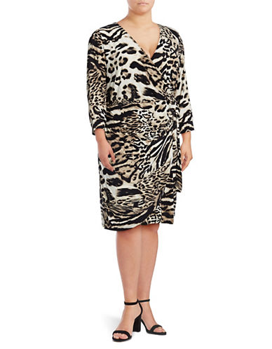 I.N.C International Concepts Plus Printed Wrap Dress-ANIMAL-1X