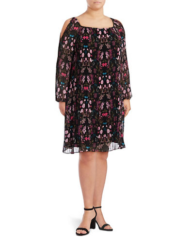 I.N.C International Concepts Plus Cold-Shoulder Woven Dress-BLACK MULTI-3X