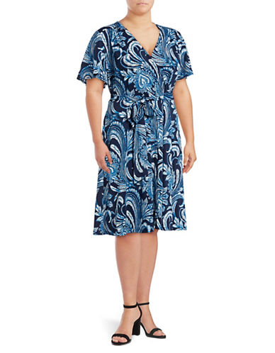I.N.C International Concepts Plus Paisley Wrap Dress-MULTI-1X