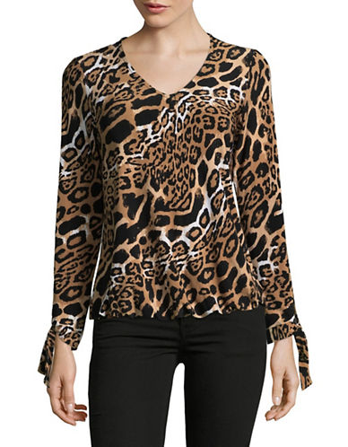 I.N.C International Concepts Long Sleeve Printed Blouse-LEOPARD-Medium