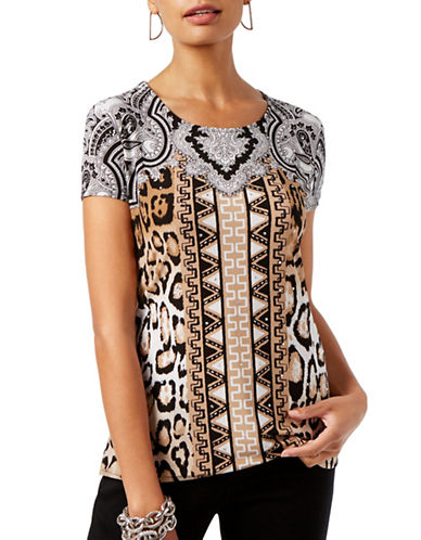 I.N.C International Concepts Petite Printed Scoop Neck Top-BEIGE MULTI-Petite Small