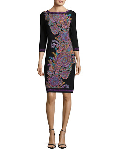 I.N.C International Concepts Petite Paisley Sheath Dress-BLACK-Petite Small