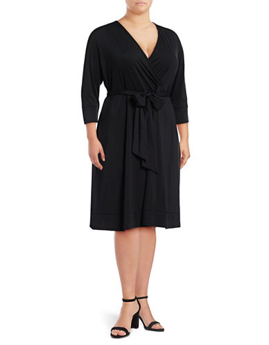 I.N.C International Concepts Plus Casual Wrap Dress-BLACK-2X