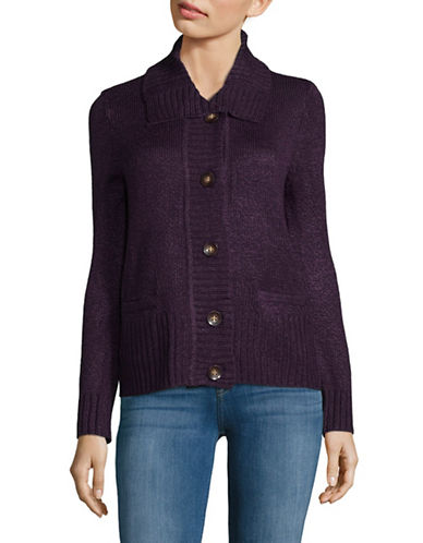 Karen Scott Petite Knit Buttoned Cardigan-PURPLE-Petite Small