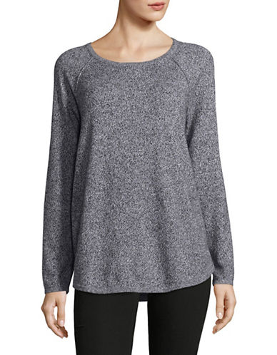 Karen Scott Marl Curved Hem Pullover-GREY-Large