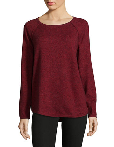 Karen Scott Marl Curved Hem Pullover-RED-Medium