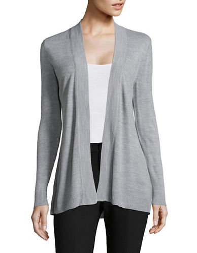 Karen Scott Petite Metallic Knit Wrap Cardigan-GREY-Petite X-Small