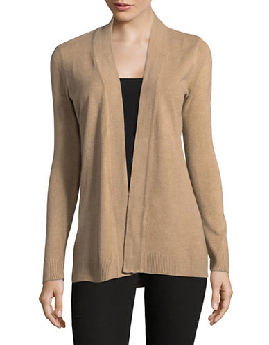 Karen Scott Petite Metallic Knit Wrap Cardigan-BROWN-Petite X-Small