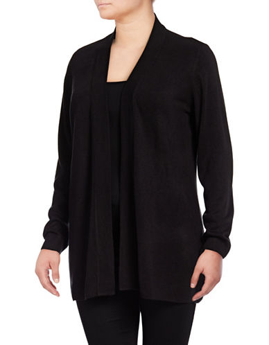 Karen Scott Plus Metallic Knit Wrap Cardigan-DEEP BLACK-1X